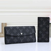 Louis Vuitton Fashion Leather Buckle Wallet Purse Two Piece Set bag