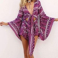 Sexy Cut Out Waist Self-tie Wide Sleeves Romper