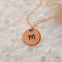 Rose Gold Initial Necklace, Girlfriend Gift,  Personalized Initial Disc, Girlfriend Gift,  Letter Disc Necklace, Simple Initial Necklace