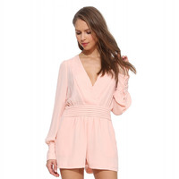 Pink V-neck Long Sleeve Pleated Romper