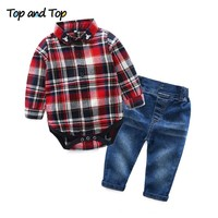 Top and Top Toddler Baby Boys Clothing Set Gentleman Long Sleeve Plaid Rompers Shirt+Jeans 2PCS Outfits Newborn Boys Clothes Set