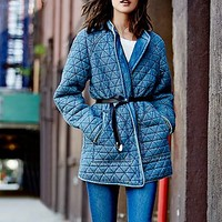 Free People Womens Chambray Quilted Jacket