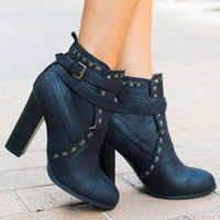 Please Don't Go Heeled Booties Black