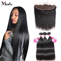 Meetu Malaysian Straight Hair Bundles with Frontal 13x4 Ear to Ear Lace Frontal Closure with Bundles Non Remy Human Hair Bundles