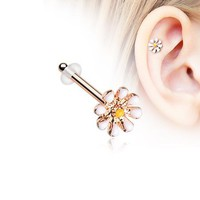 Rose Gold Dainty Adorable Daisy Piercing Stud with O-Rings