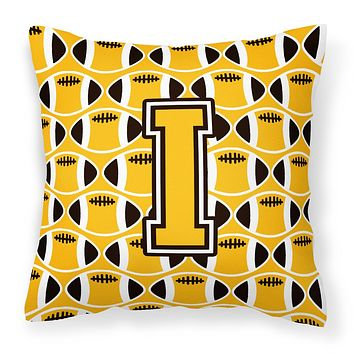 Letter I Football Black, Old Gold and White Fabric Decorative Pillow CJ1080-IPW1414