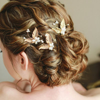 Bridal hair pin, wedding hiar pins, wired hair pins, bobby pins - style 117