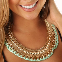 Somebody To Love Necklace: Gold/Mint