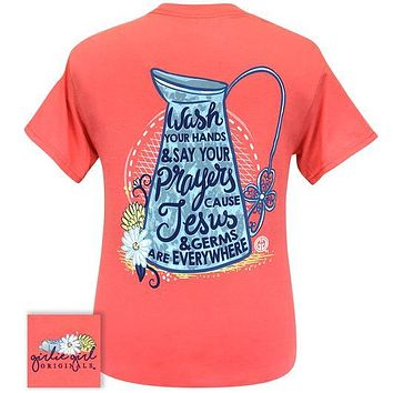 Girlie Girl Originals Preppy Wash Hands Say Prayers COVID-19 T-Shirt