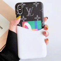 LV Louis Vuitton New fashion monogram print couple card protective cover phone case