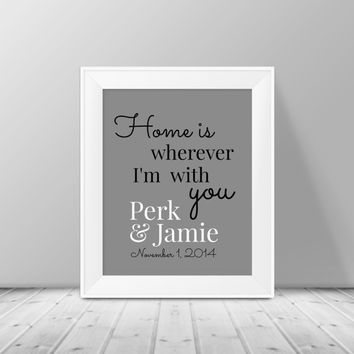 Home is wherever I'm with you  - Personalized Wall Art, Housewarming gift, Typography Art Print, Wedding Gift, Couples Print