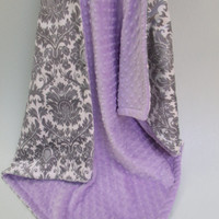 Minky Baby Blanket in Gray Damask and lavender, for baby girl