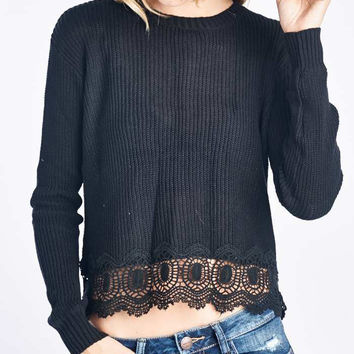 Black Knit Sweater With Lace Trim
