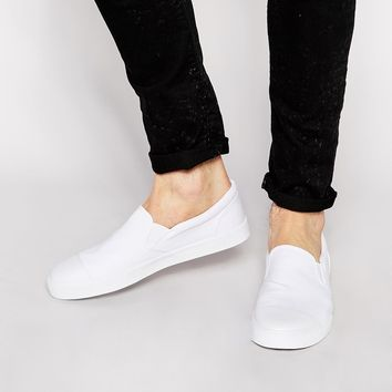 ASOS Slip On Sneakers in Canvas with Toe Cap