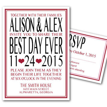 Printable Wedding Invitation Template and RSVP Card - Best Day Ever - Printable File - DIY invites - bride and groom - hearts