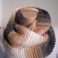 knitted scarf , chunky knit scarf , knitted snood ,knit scarves , knitted neckwarmer, multicolor knit scarf,brown scarf,valentines day scarf