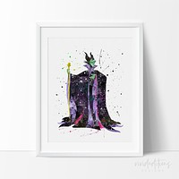 Maleficent 3 Watercolor Art Print