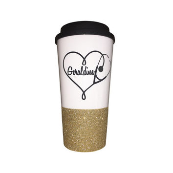 Stethoscope Heart glitter coffee mug to go cup for Nurse and doctor