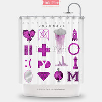 Justin Bieber Journals Shower Curtain Free shipping Home & Living 162