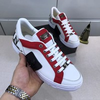 Philipp Plein White/Red Men Fashion Casual Sneakers Sport Shoes