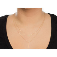 Balance Bar with Vertical Tube Double Chain Necklace, Gold Dipped   Dogeared