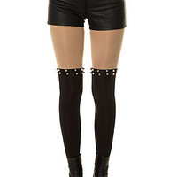 The Faux Garter Tights with Gold Spikes