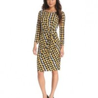 Anne Klein Women's Abstract Houndstooth Dress, Topaz/Camel, Large