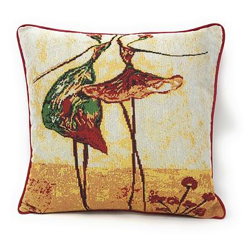 Tache Abstract Art Dancing Ladies Beige Woven Tapestry Cushion Cover (18110)