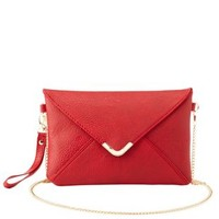 Gold-Tipped Cross-Body Envelope Clutch by Charlotte Russe - Red