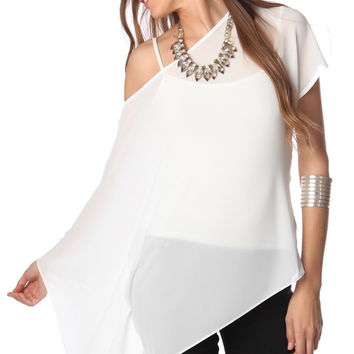 WHITE LONG SLEEVE ONE SHOULDER TOP