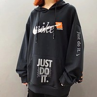 NIKE Just Do It New fashion letter hook print couple hooded long sleeve top sweater