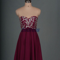 Short plum chiffon homecoming dress,2015 cute women dresses for party,cheap prom gowns with sequins.