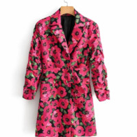 Autumn new retro printed suit collar casual small suit long section suit jacket female