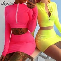 Hugcitar long sleeve high neck zipper bodycon crop tops mini skirt 2 pieces sets 2018 autumn winter women fashion solid set