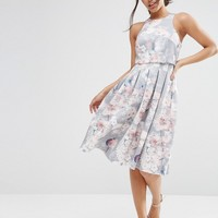 ASOS Crop Top Floral Midi Dress at asos.com