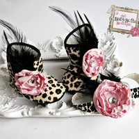 Leopard baby girl boots and headband  set  by TheBabyBellaBoutique