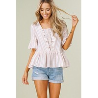 Lace up Striped Top - Blush