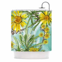 """Liz Perez """"Sunny Day"""" Yellow Floral Shower Curtain"""