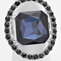 """""""Just a peek"""" Navy Blue Cutout Crystal Rhinestone Pave Stretch Cocktail Ring On Silver Tone"""