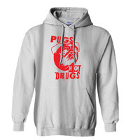 Pugs Not Drugs Red Mens Hoodie and Womens Hoodie