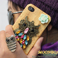 Antique Brass Cute Owl Hard Case Cover for Apple iPhone 4 Case, iPhone 4s Case, iPhone 4 Hard Case, iPhone Case MB111