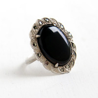 Vintage Art Deco Black Glass & Marcasite Ring- Size 5 1930s Sterling Silver Statement Jewelry
