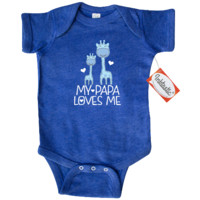 My Papa loves me Infant Creeper for a grandchild has blue colored giraffe grandpa and grandson and makes a fun gift idea from a grandfather. $19.99 www.personalizedfamilytshirts.com