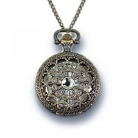 """Antique Style Pocket Watch Bronze Necklace 32"""" Chain Large"""