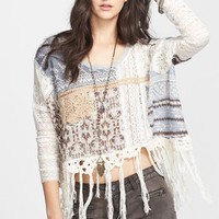 Free People Mixed Media Crop Pullover