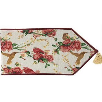 Tache Floral Red Roses Hummingbirds Ivory Woven Tapestry Table Runner (18109)