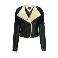 ZLYC Shearling Biker Jacket with Leather Look Sleeves Detail for Women
