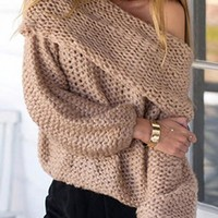 New Khaki Off Shoulder Long Sleeve Casual Pullover Sweater