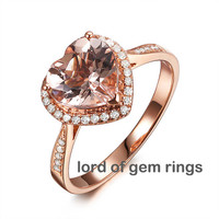 Heart Morganite Engagement Ring Pave Diamond Wedding 14K Rose Gold 8mm