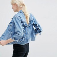 ASOS | ASOS Denim Western Jacket in Mid Stone-wash Blue with Frill Detail at ASOS